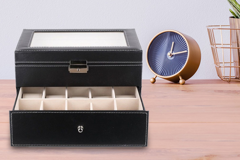 Black Faux Leather Watch Box - Fits 20 Watches!