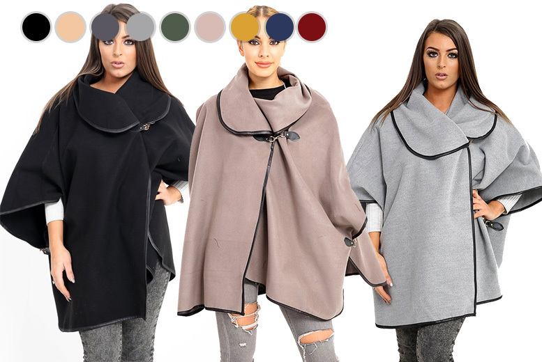 Oversized Buckle Collar Cape Coat – 9 Colours! for £15
