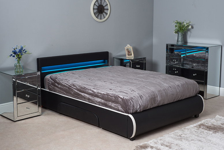LED Bed with Rounded End – Remote Control & Optional Mattress!