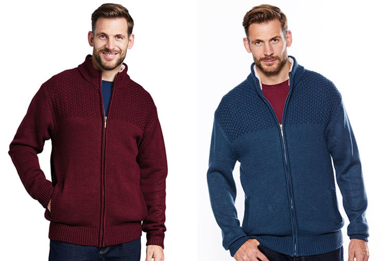 Men's Sherpa Collar Zip-Up Cardigan – 2 Colours & 5 Sizes! for £19.99