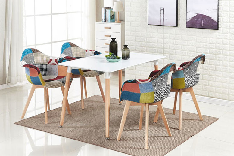 Modern Designer Patchwork Chairs – 1, 2 or 4! from £36