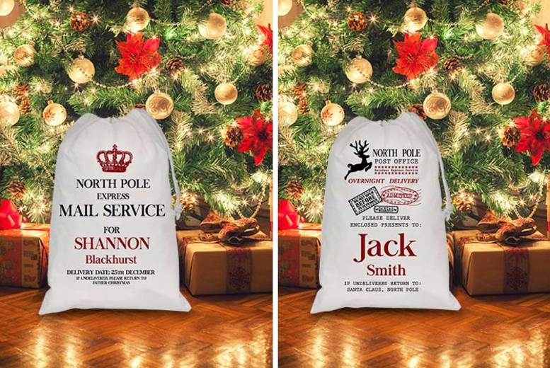1 or 2 Personalised Christmas Gift Sacks – 4 Designs! from £6.99