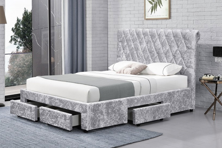 Crushed Velvet Bed with Optional Mattress – 2 Options! from £279