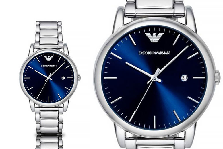 Emporio Armani AR8033 Mens Blue Dial Stainless Steel Watch