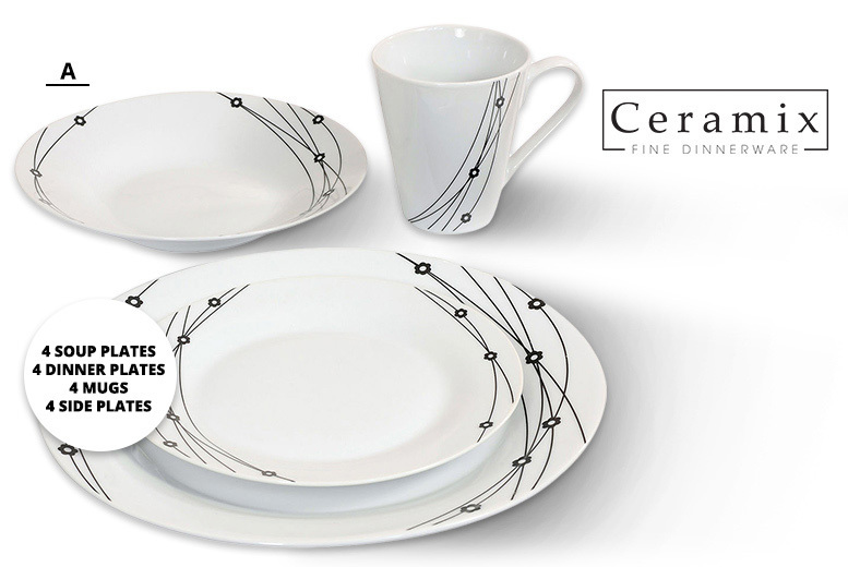 16pc Dinner Set – 4 Designs! for £12.99