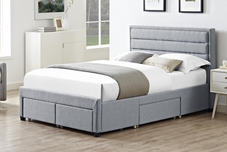 Greenwich Grey Fabric Storage Bed – 2 Sizes! from £349