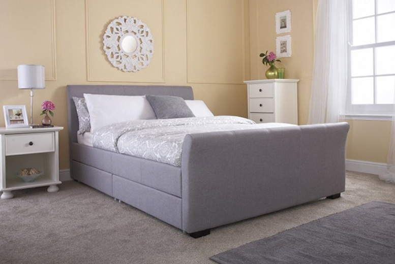 Hannover Grey Fabric Storage Bed – 2 Sizes! from £299