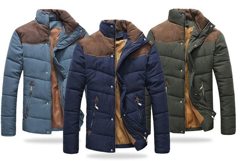 Men's Contrast Shoulder Padded Jacket – 3 Colours & Sizes XS-XL! for £24
