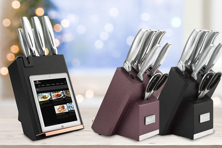 7pc Knife Set with Built-In Sharpener & Book Stand – 3 Colours! for £29