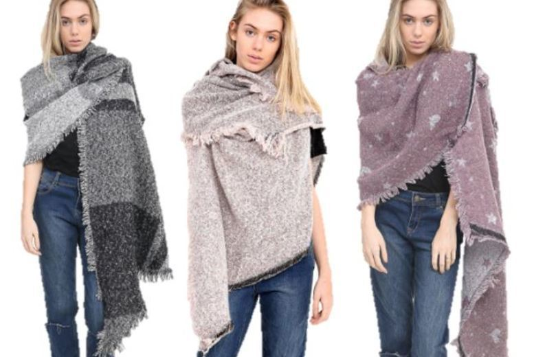 Oversized Fashion Scarf – 3 Designs & 4 Colours! for £6