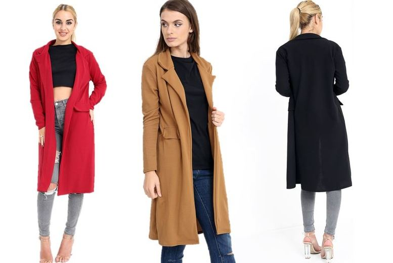 Open Front Trench Coat – 3 Colours & UK Sizes 8-16! for £9.99