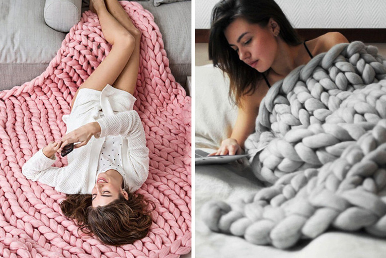 Chunky Knit Blanket Throw – 7 Colours & 3 Sizes! from £12.99
