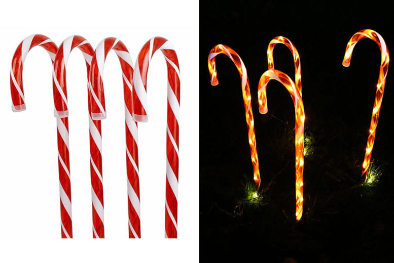 Image of £10.99 instead of £29.99 for a set of four candy cane Christmas pathway lights from Shop At Home - save 63%