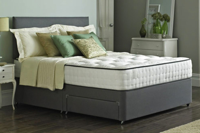 Divan Bed & Memory Mattress with Optional Drawers – 2 Colours! (£109)