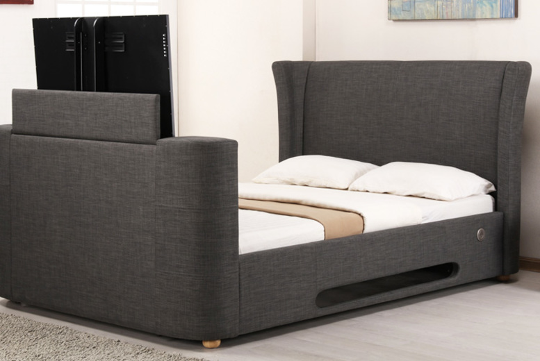Designer TV Bed & Optional Mattress - 2 Colours!