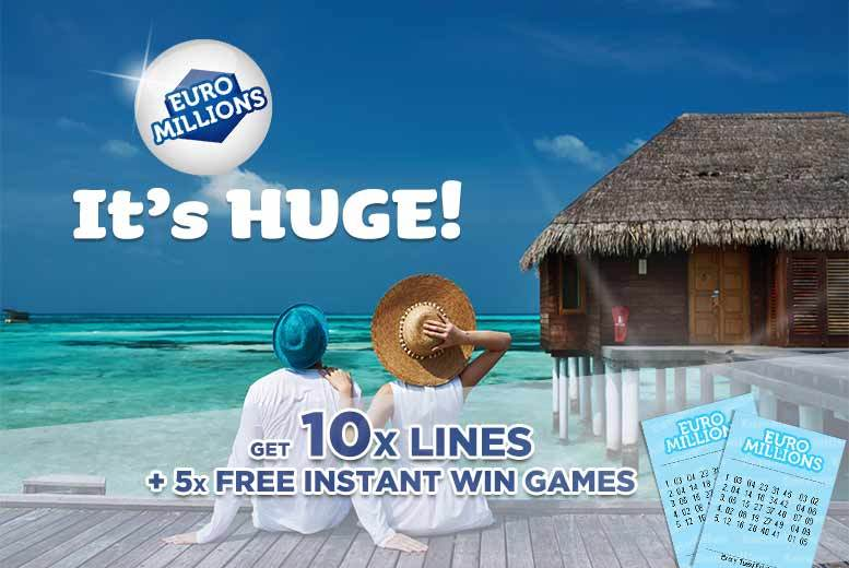 £2 instead of £8 for 10 syndicated EuroMillions lines and five instant win games with chances for an up to £7k win from Lotto Social - save 75%
