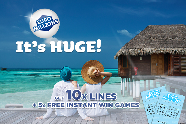 £2 instead of £8 for 10 syndicated EuroMillions lines and five instant win games from Lotto Social - save 75%