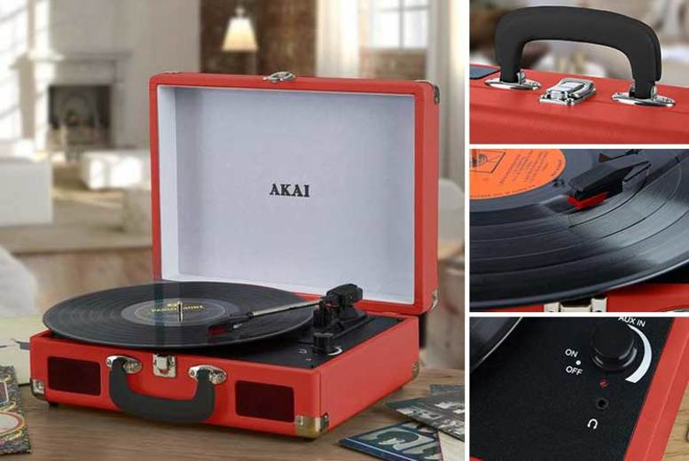 Briefcase-Style Bluetooth Turntable – 2 Colours! for £39