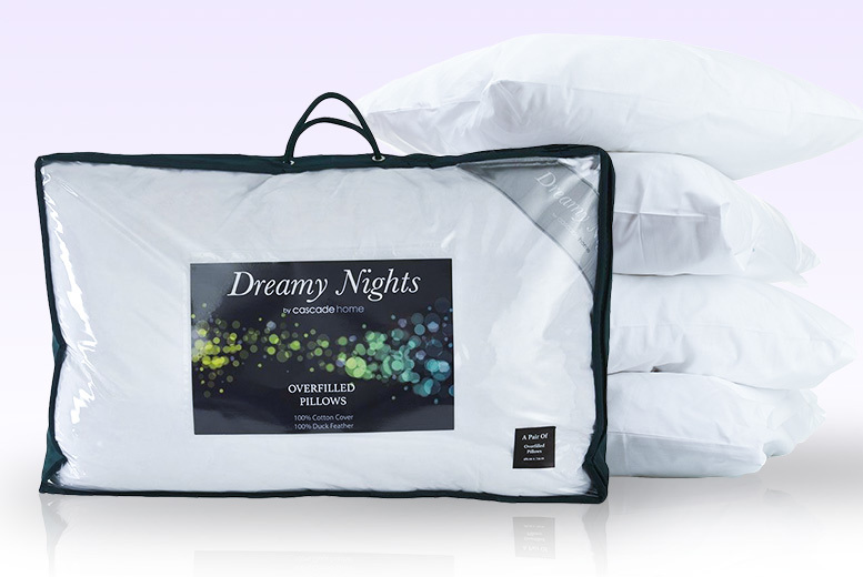 4 Luxury Over-Filled Duck Feather Pillows for £18.99