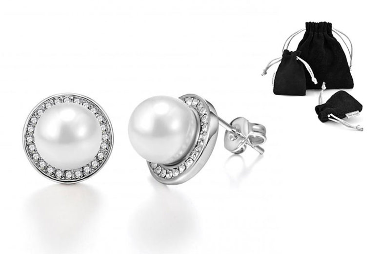 Phillip Jones Pearl Earrings Made w/ Crystals from Swarovski® for £4.99