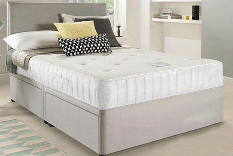 Fabric Divan Bed with Headboard, Mattress & Optional Drawers!