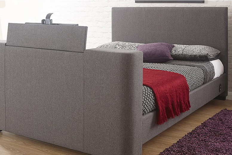Newark Fabric TV Bed with an optional mattress – 2 Sizes! for £379