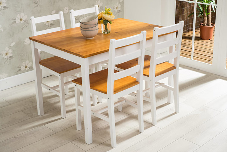 Wooden Dining Table & 4 Chairs – 3 Colours!