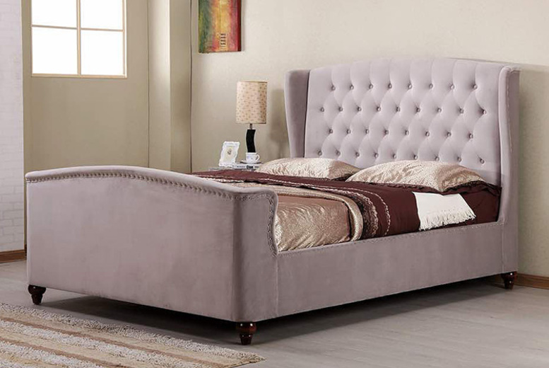 Wingback Fabric Bed with optional mattress – 2 colours!