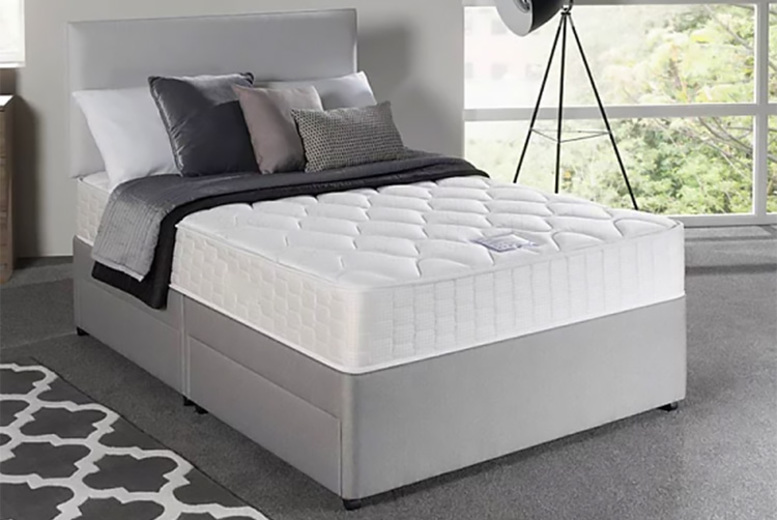 Grey Suede Memory Open Coil Divan Bed Set with optional drawers!