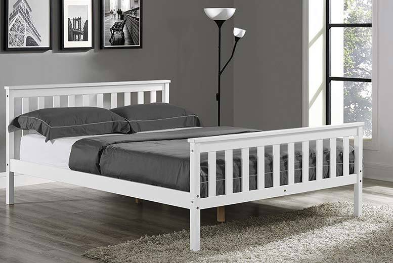 Double Contemporary White Wooden Bed Frame