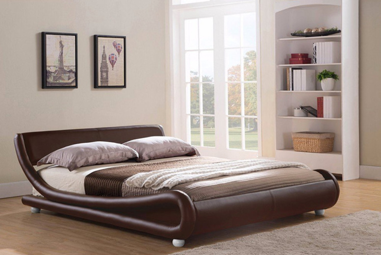 Curved Faux Leather Designer Bed - 2 Sizes & Optional Mattress!