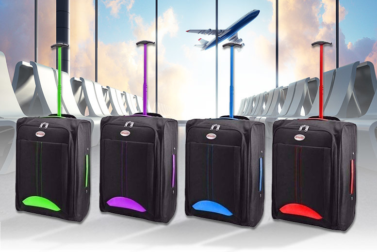 Cabin-Approved Wheelie Hand Luggage – 4 Colours! for £9.99