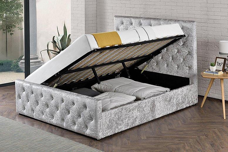Crushed Velvet Renaissance Ottoman Bed - 2 Sizes & Mattress Options!