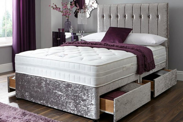 Crushed Velvet Divan Bed with Memory Mattress & Optional Drawers! from £99