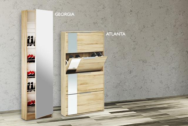 Full Length Mirrored Shoe Cabinet
